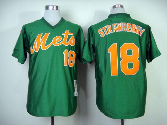 Mens mlb new york mets #18 strawberry green 1985 throwbacks Jersey