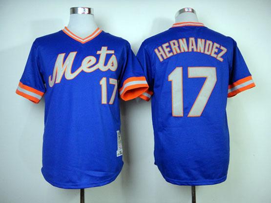 Mens mlb new york mets #17 hernandez blue 1983 throwbacks Jersey