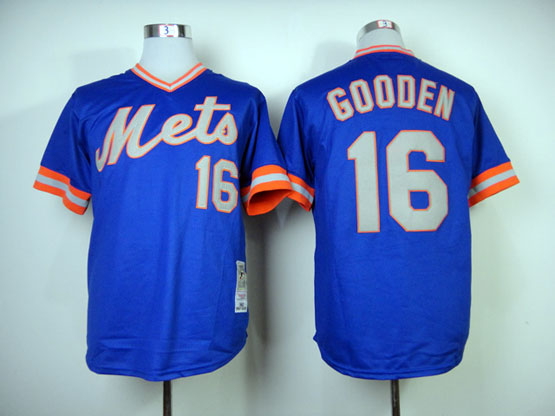 Mens mlb new york mets #16 gooden blue 1983 throwbacks Jersey