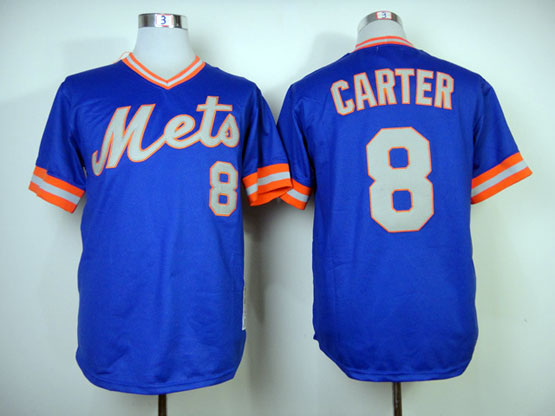 Mens mlb new york mets #8 carter blue 1983 throwbacks Jersey