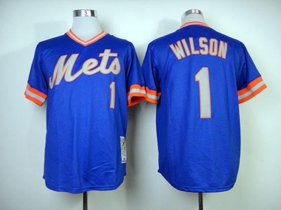Mens mlb new york mets #1 wilson blue 1983 throwbacks Jersey