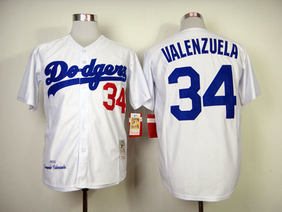 Mens mlb los angeles dodgers #34 valenzuela white 1955 throwbacks Jersey