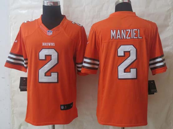 Mens Nfl Cleveland Browns #2 Manziel Orange Limited Jerseys