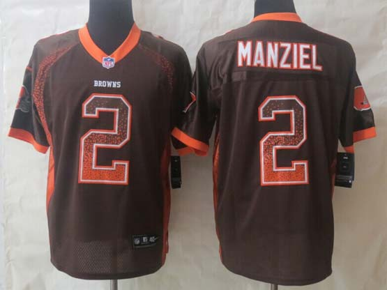 Mens Nfl Cleveland Browns #2 Manziel Drift Fashion Brown Elite Jersey