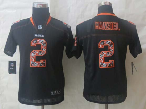 Youth Nfl Cleveland Browns #2 Manziel (lights Out Team Logo Number) Black Elite Jersey