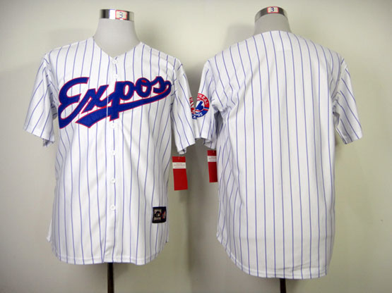 Mens Mlb Montreal Expos (blank) White (blue Stripe) 1982 Throwbacks Jersey