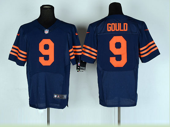 Mens Nfl Chicago Bears #9 Gould Blue (orange Number) Elite Jersey
