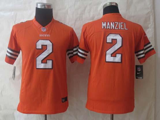 Youth Nfl Cleveland Browns #2 Manziel Orange Limited Jersey