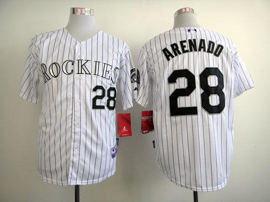 Mens mlb colorado rockies #28 arenado white(black stripe) Jersey
