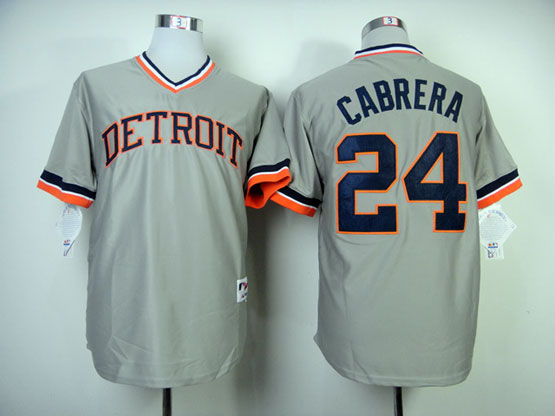 Mens Mlb Detroit Tigers #24 Cabrera Gray Turn Jersey