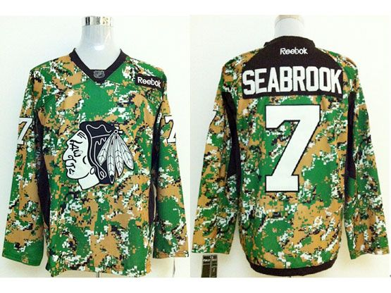 Mens reebok nhl chicago blackhawks #7 seabrook (2014 green camo) Jersey