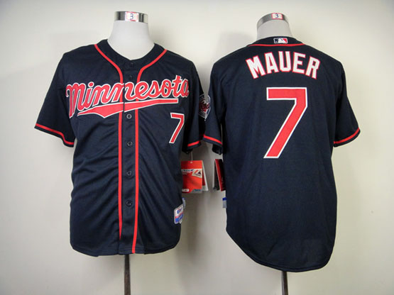 Mens Mlb Minnesota Twins #7 Mauer Dark Blue (minnesota) Jersey