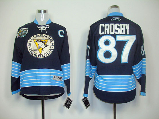 youth reebok nhl pittsburgh penguins #87 crosby dark blue winter classic(2011)Jersey