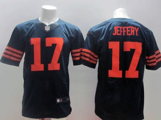 mens nfl Chicago Bears #17 Alshon Jeffery blue (orange number) elite jersey