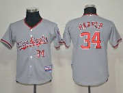Youth Mlb Washington Nationals #34 Bryce Harper Gray Jersey