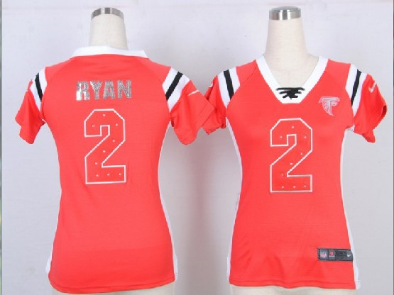 Women  Nfl Atlanta Falcons #2 Ryan Red 2014 Fashion Rhinestone Sequins Jersey