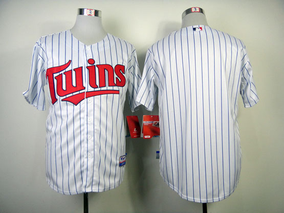 Mens Mlb Minnesota Twins (blank) White (blue Stripe Red Number) Jersey