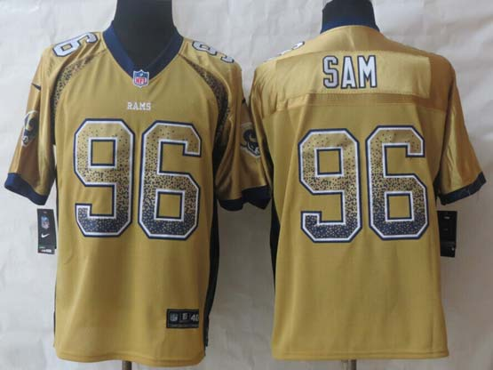 Mens Nfl St. Louis Rams #96 Sam Drift Fashion Gold Elite Jersey