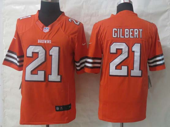 Mens Nfl Cleveland Browns #21 Gilbert Orange Limited Jersey