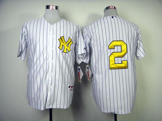 mens mlb new york yankees #2 jeter white (no name) Jersey (golden digit)