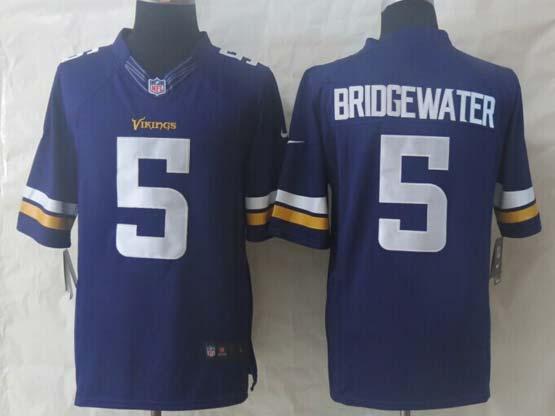 Mens Nfl Minnesota Vikings #5 Bridgewater Purple (2013 New) Limited Jersey