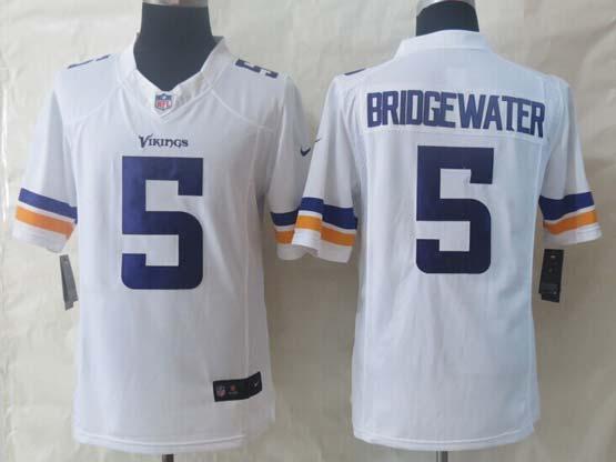 Mens Nfl Minnesota Vikings #5 Bridgewater White (2013 New) Limited Jersey