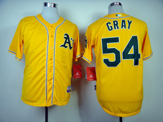 Mens Mlb Oakland Athletics #54 Gray Yellow Jersey