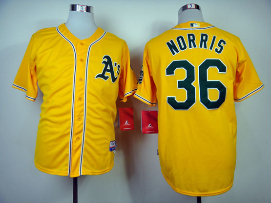 Mens Mlb Oakland Athletics #36 Norris Yellow Jersey