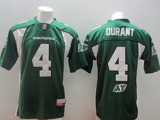 Mens Cfl Saskatchewan Roughriders #4 Durant Green Jersey