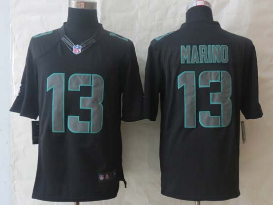 Mens Nfl Miami Dolphins #13 Marino New Impact Limited Black Jersey