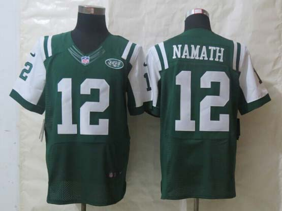 Mens Nfl New York Jets #12 Namath Green Elite Jersey