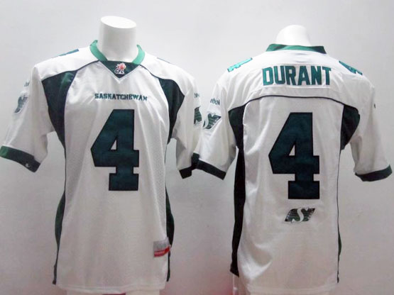 Mens Cfl Saskatchewan Roughriders #4 Durant White Jersey