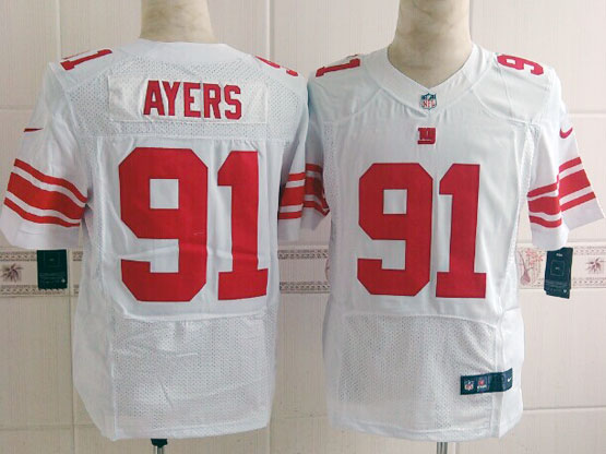 Mens Nfl New York Giants #91 Ayers White Elite Jersey