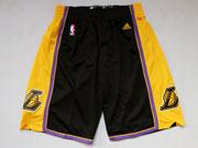 Nba Los Angeles Lakers Black&gold Shorts(new Mesh Style)
