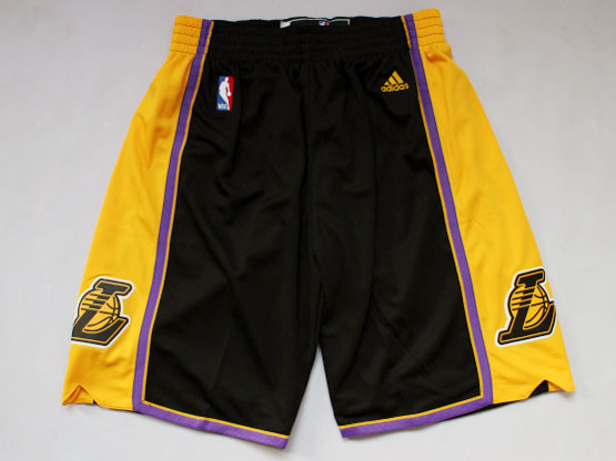 Nba Los Angeles Lakers Black&gold Shorts(new Mesh Style)