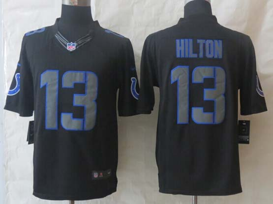 Mens Nfl Indianapolis Colts #13 Hilton Black New Impact Limited Jersey