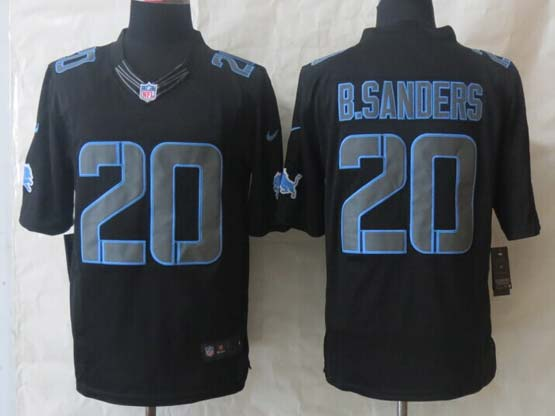 mens nfl Detroit Lions #20 Barry Sanders black (new impact) limited jersey
