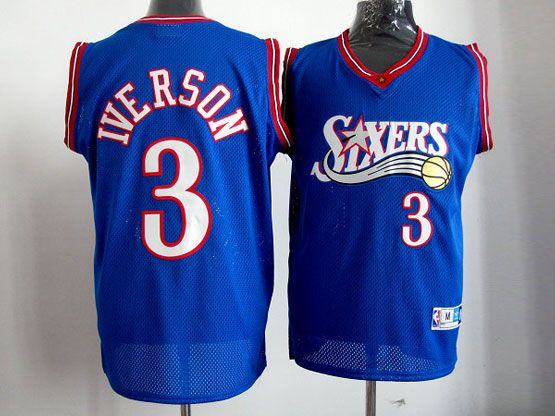 mens nba Philadelphia Sixers #3 Allen Iverson blue swingman jersey(mesh)