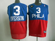 Mens Nba Philadelphia 76ers #3 Allen Iverson (phila) Blue&red Hardwood Classics Jersey