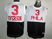 Mens Nba Philadelphia 76ers #3 Allen Iverson (phila) White&black Hardwood Classics Jersey
