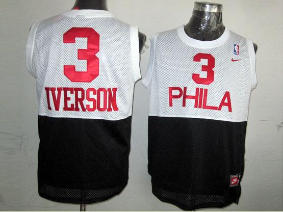 mens nba Philadelphia Sixers #3 Allen Iverson (phila) white&black hardwood classics jersey