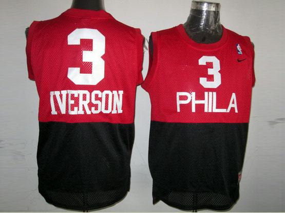 mens nba Philadelphia Sixers #3 Allen Iverson (phila) red&black hardwood classics jersey