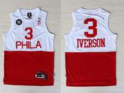 Mens Nba Philadelphia 76ers #3 Allen Iverson (phila) White&red 10th Jersey