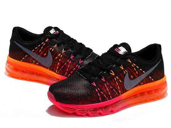 Women    Air Max 2014 Flyknit Running Shoes Color Black&red
