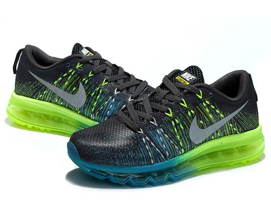 Women    Air Max 2014 Flyknit Running Shoes Color Black&blue