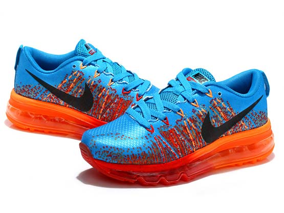 Women    Air Max 2014 Flyknit Running Shoes Color Blue&orange