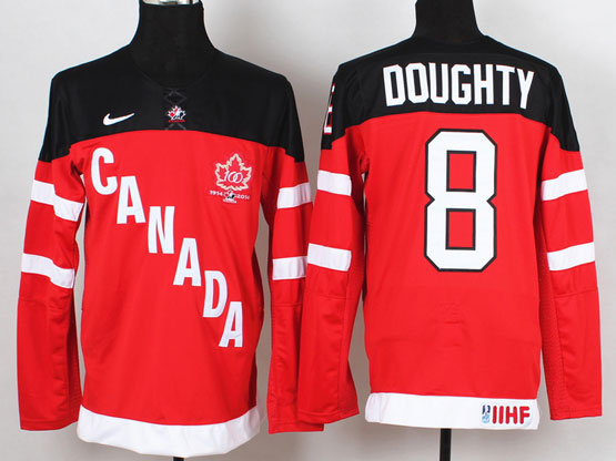 Mens Reebok Nhl Team Canada #8 Doughty 2014 100th Anniversary Red Jersey