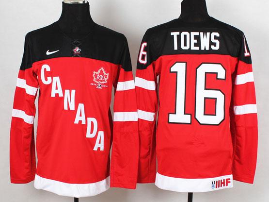 Mens Reebok Nhl Team Canada #16 Toews 2014 100th Anniversary Red Jersey