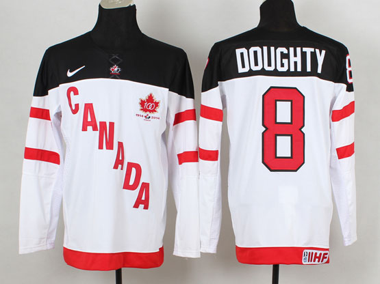 Mens Reebok Nhl Team Canada #8 Doughty 2014 100th Anniversary White Jersey