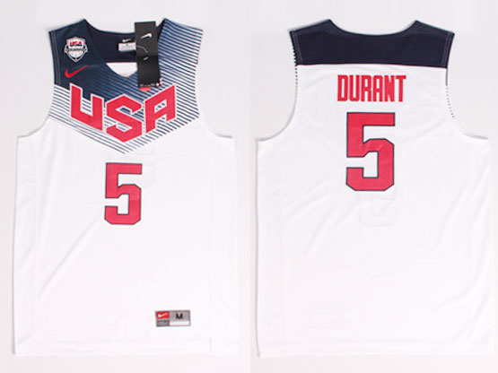 Mens Nba Usa Team 2014 Fiba Basketball World Cup #5 Durant White Jersey (p)